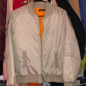Jackets & Blazers - Misguided tan bomber with orange lining